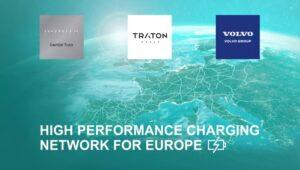 Pioniersplannen van Volvo Group, Daimler Truck en TRATON GROUP voor Europees high-performance oplaadnetwerk voor zware trucks