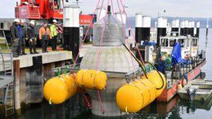 Proef met grote betonnen bol om onderwater stroom op te slaan