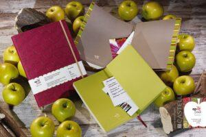 Duurzame notitieboeken gemaakt van appelschillen