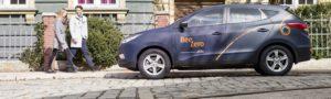 Autodeeldienst met wagens op waterstof